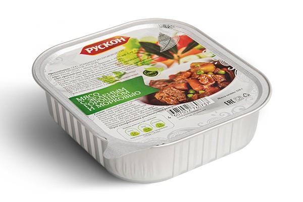 Мясо с зеленым горошком и морковью Рускон
