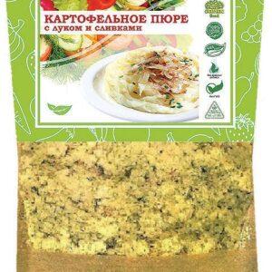 Картофельное пюре с жареным луком и сливками